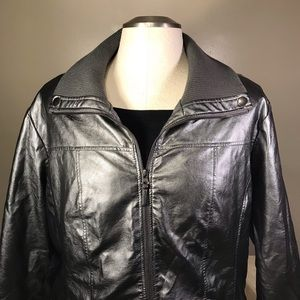 Lane Bryant gunmetal pleather moto jacket, 26/28
